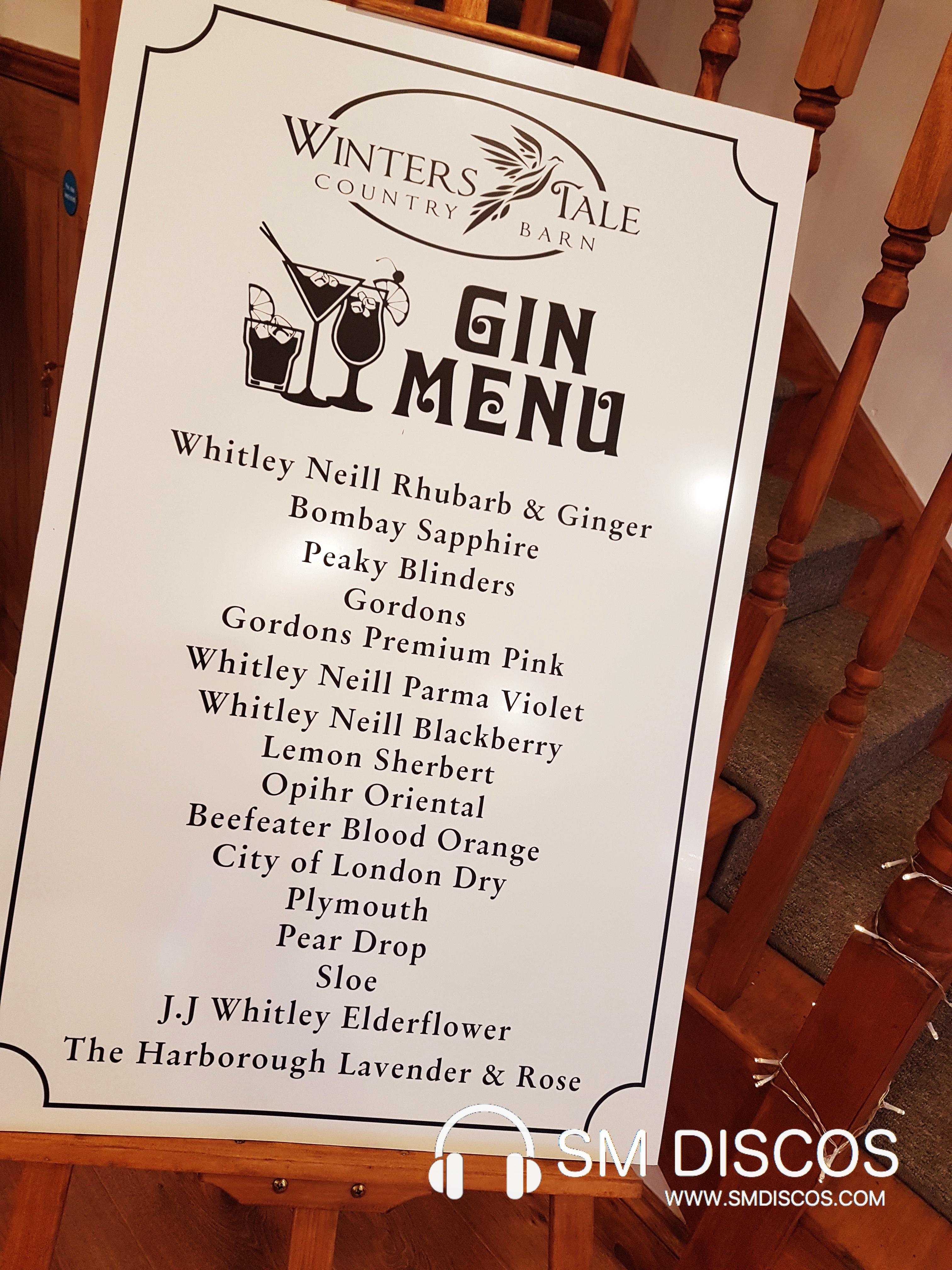 Gin menu at Winters Tale Country Barn