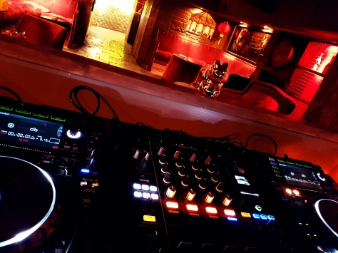 DJ decks in The Club at Aynhoe Park